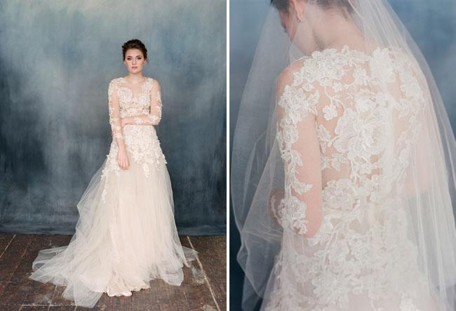 Váy cưới và khăn phủ mặt