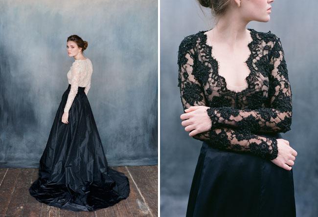 Váy cưới màu đen với các góc nhìn khác