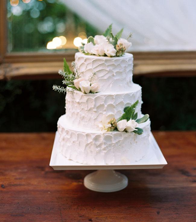 white wedding cake romantic maui wedding