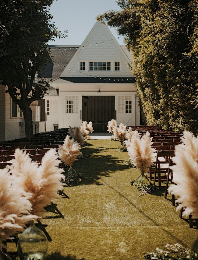 pampas grass ceremony aisle