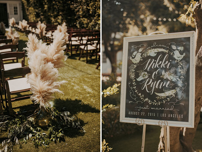 pampas grass ceremony aisle