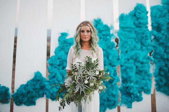 Eclectic Smoke Bomb Wedding Inspiration Green Wedding Shoes