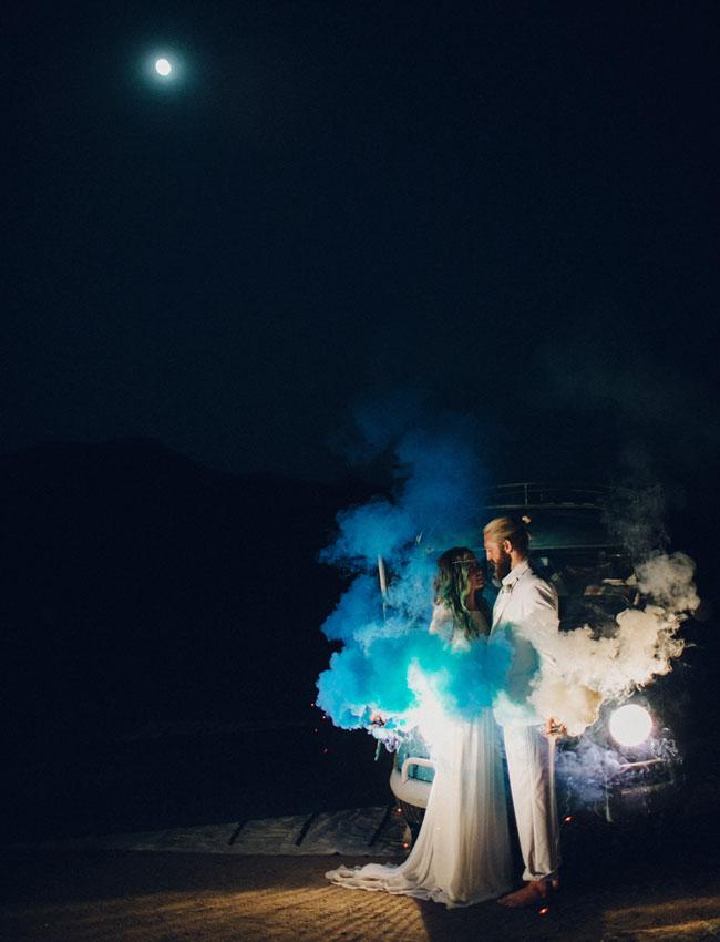 Eclectic Smoke Bomb Wedding Inspiration Green Wedding