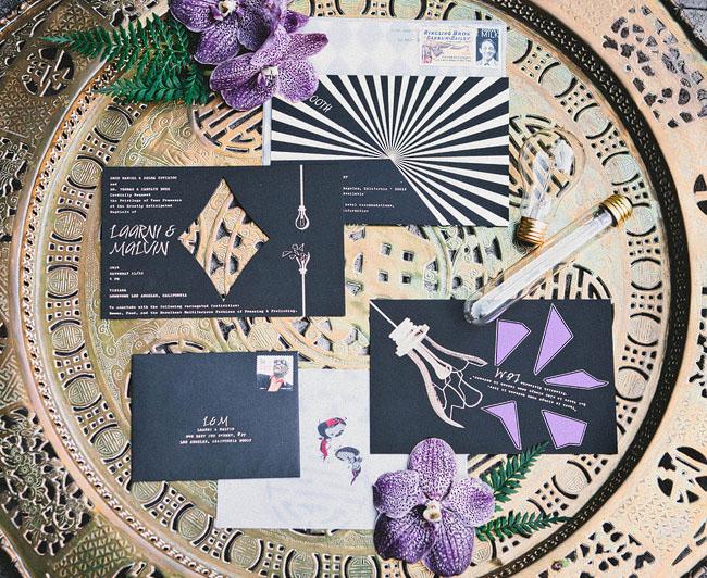 modern purple invitation
