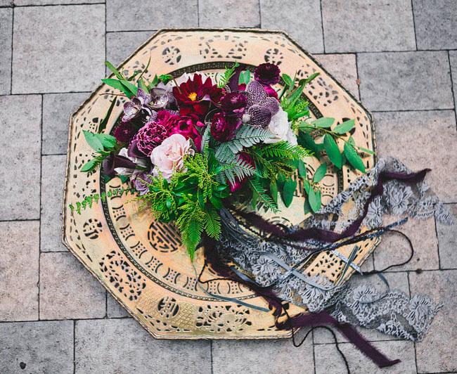 dark ribbon bouquet