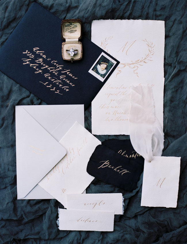 dark blue invitation
