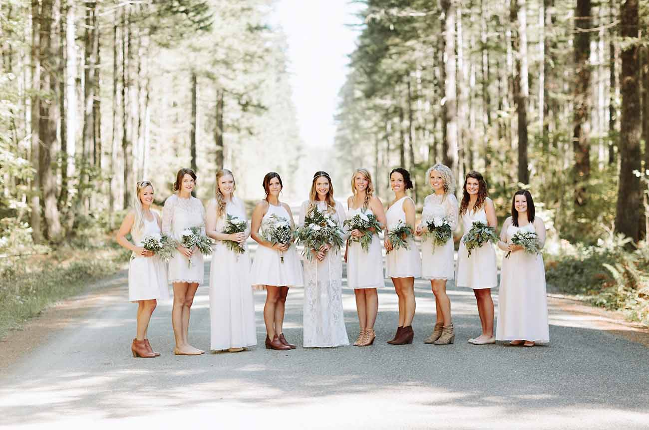 beige bridesmaids