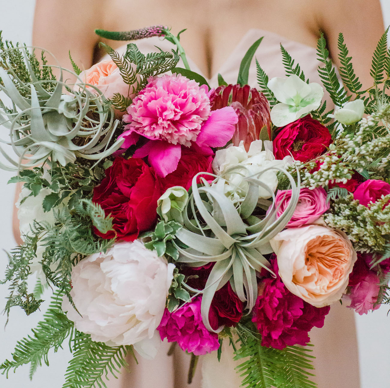 bright pink airplant bouquet
