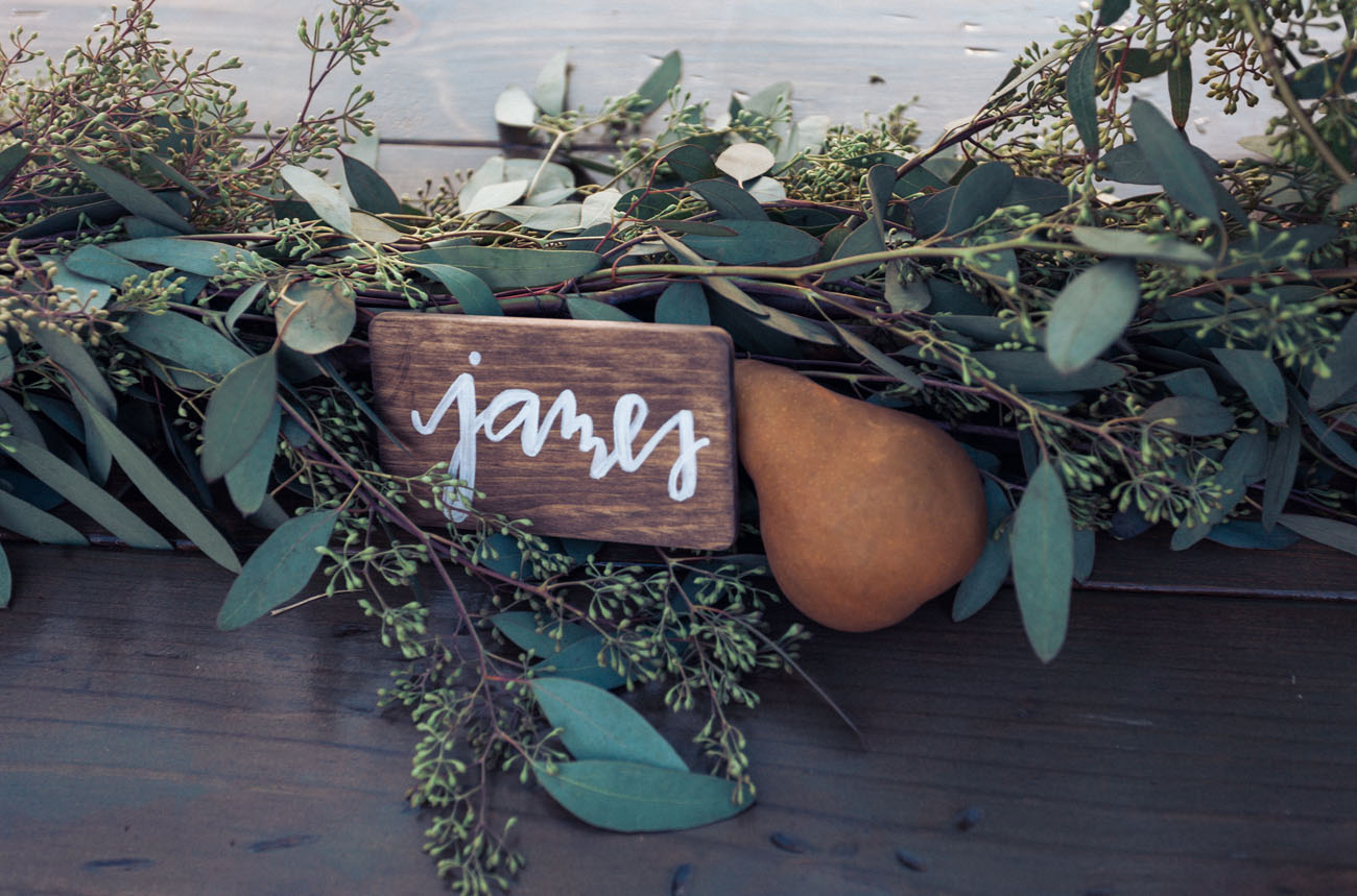 wooden name card