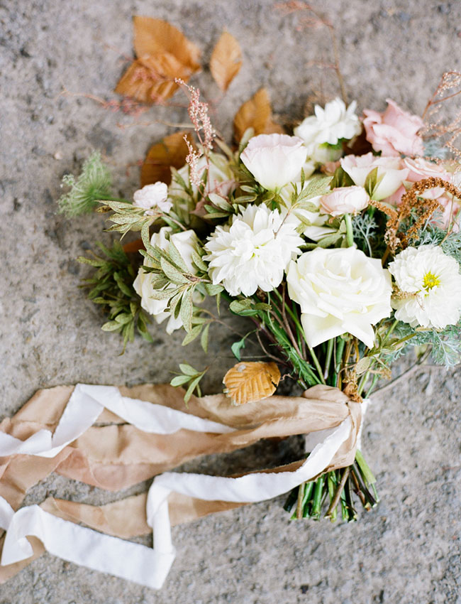white + leaf bouquet