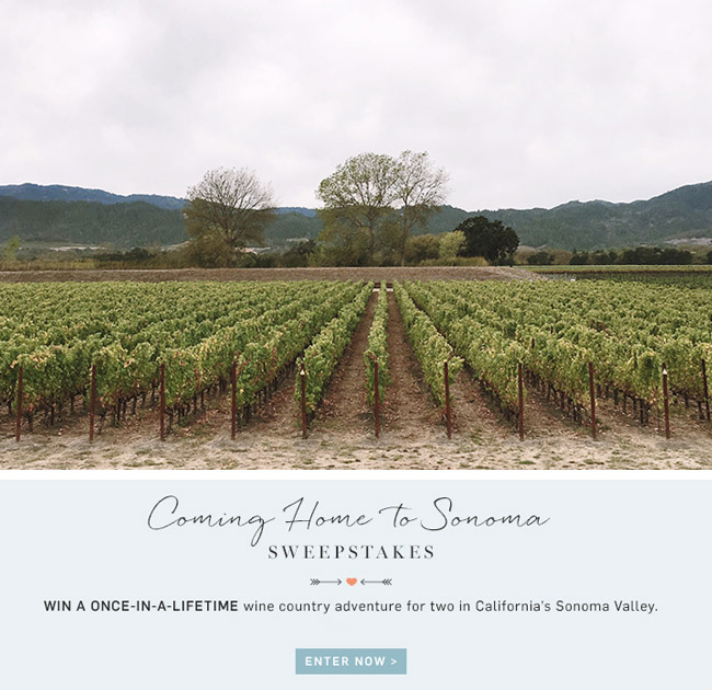 Coming Home to Sonoma giveaway