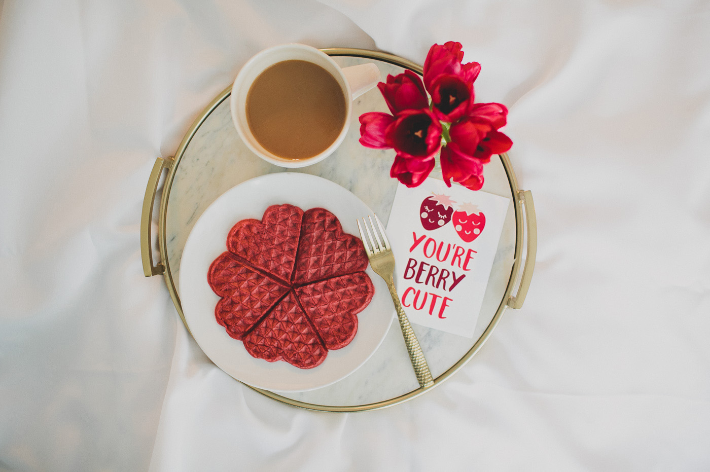 Valentine's Morning Breakfast in Bed with a cheeky love note!