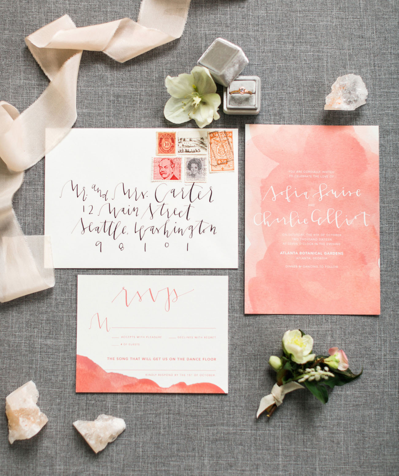 Rose Quartz Valentines Invitation