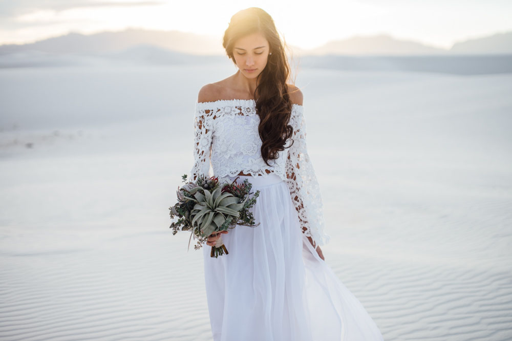 Bohemian White Sands Elopement Malia Derrik Green