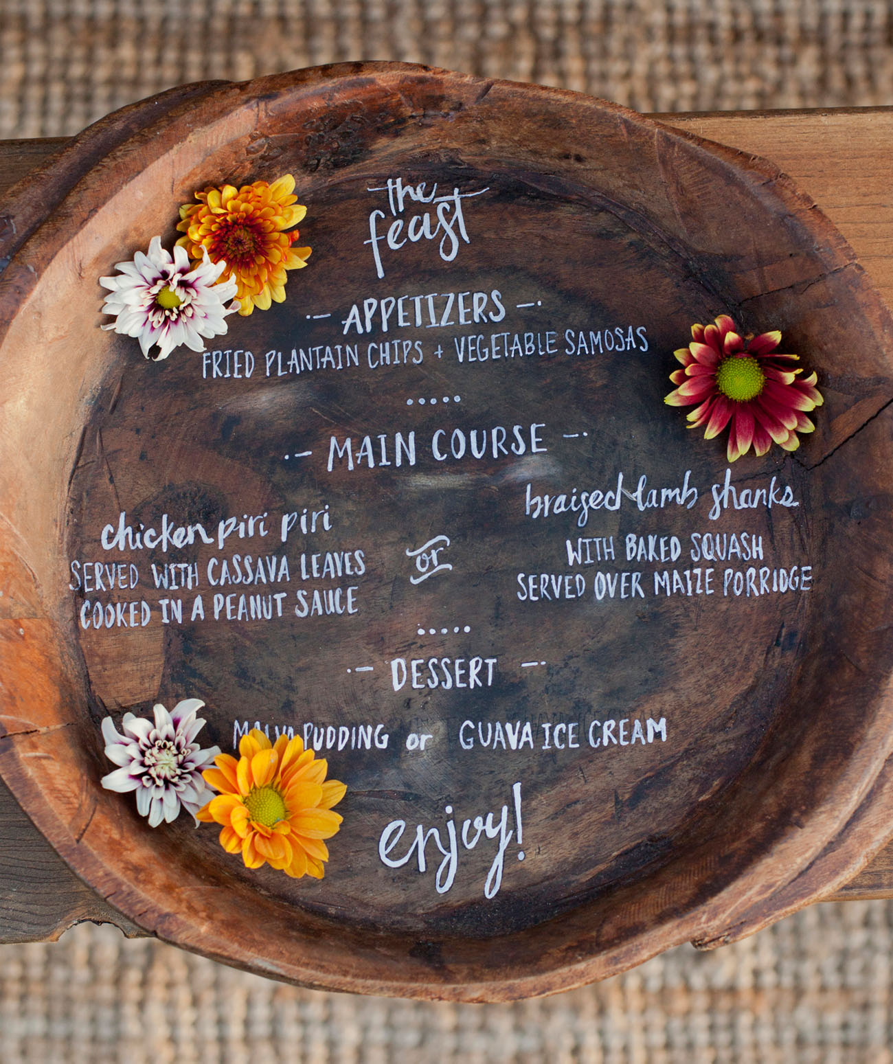 wooden bowl menu