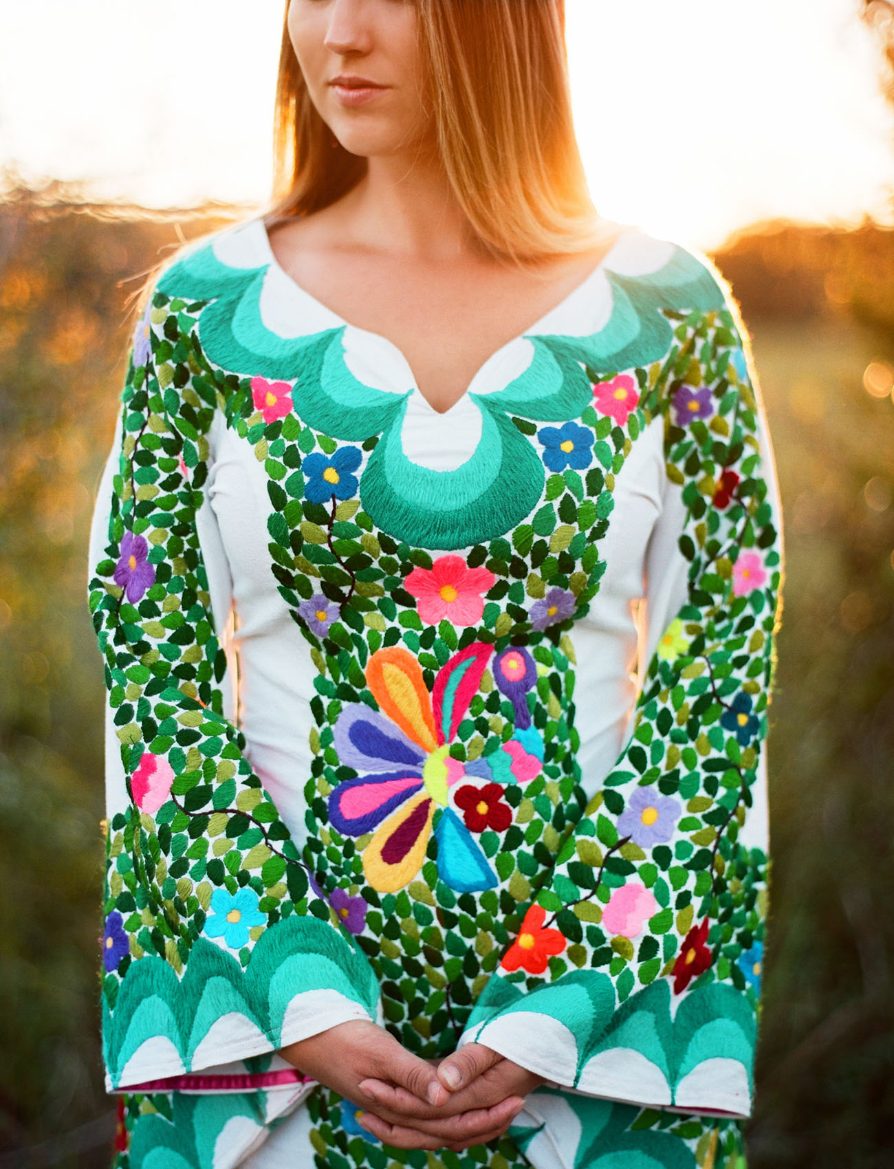 embroidered bell sleeve dress