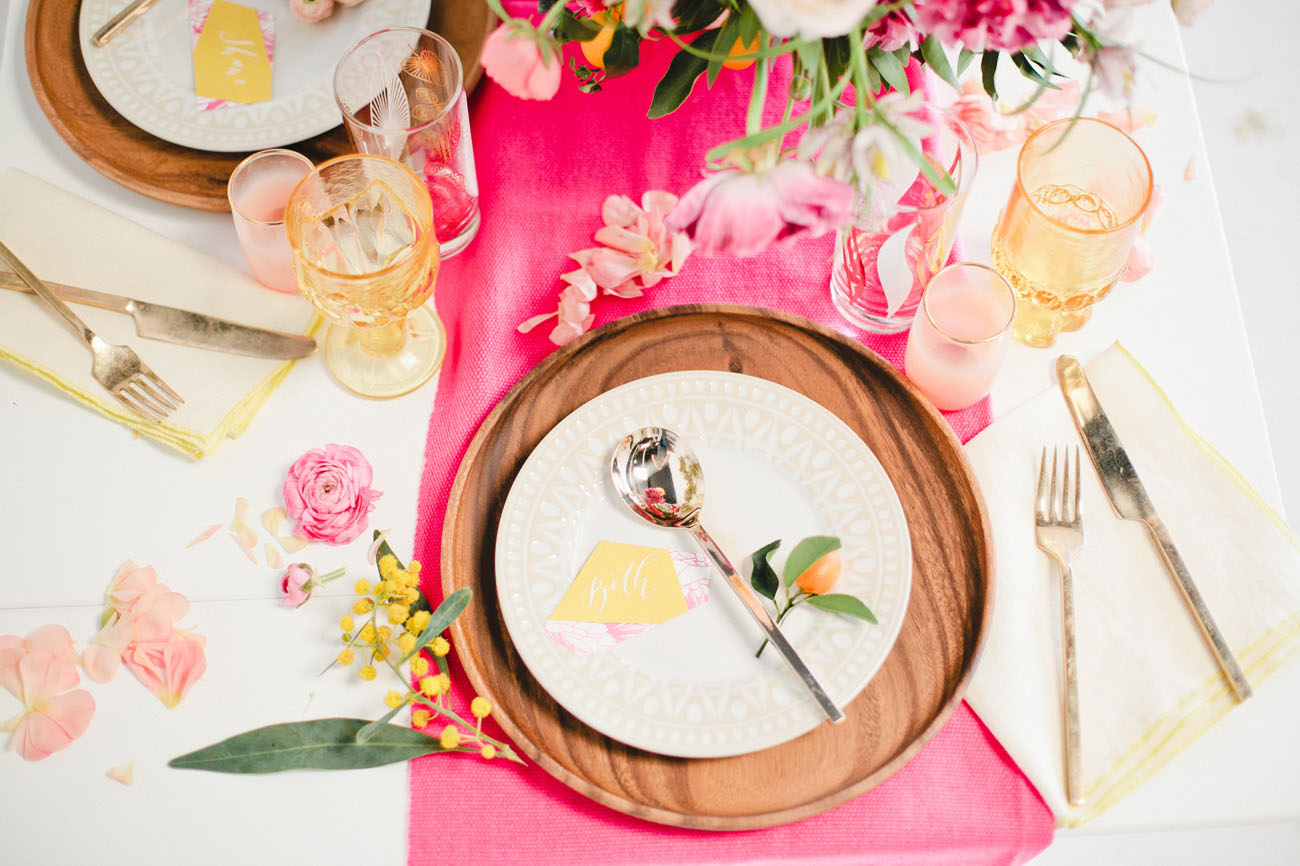 wooden plate setting