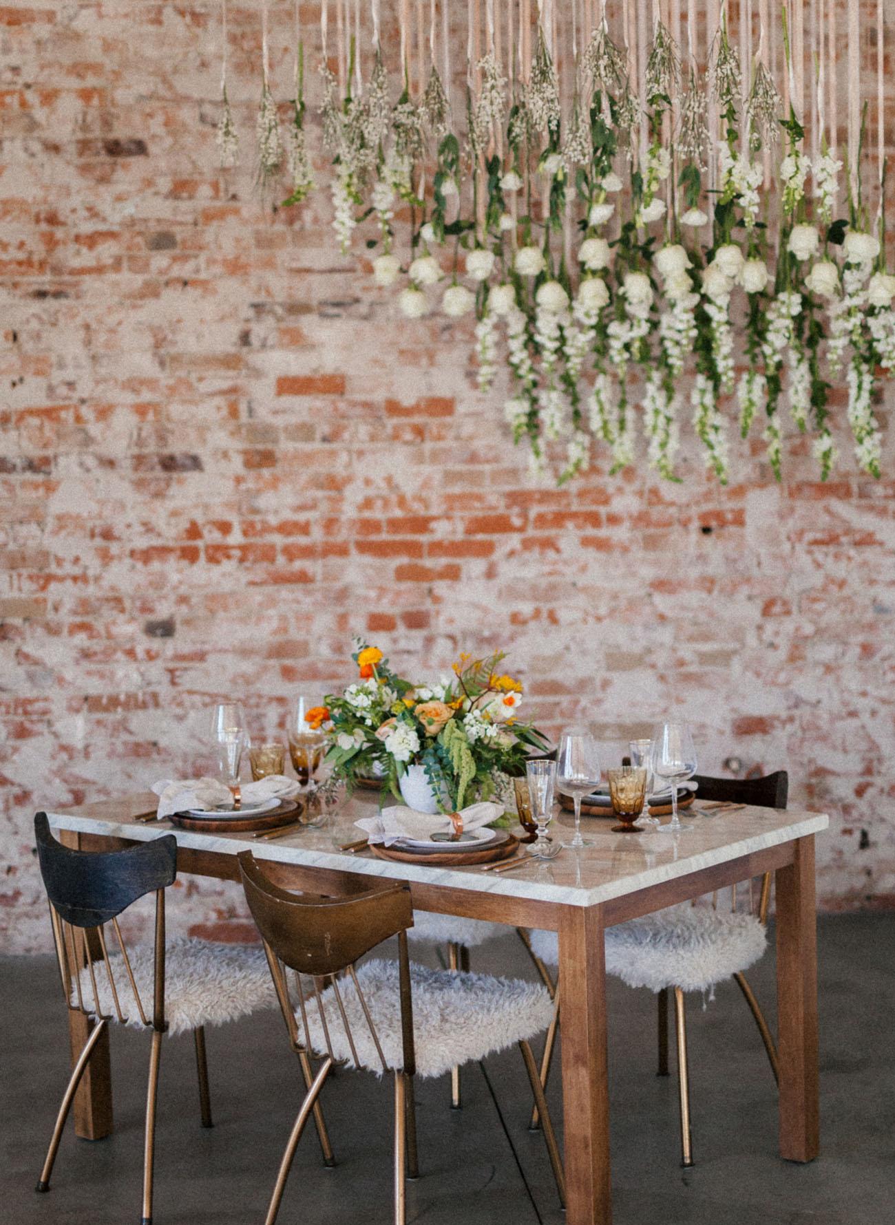 hanging flower installation