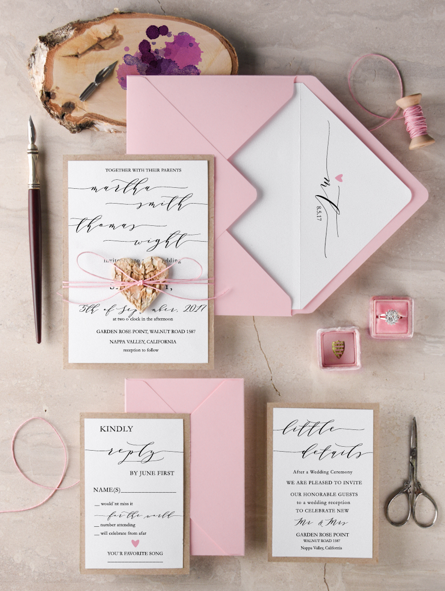 heart invites by 4loveforpolkadots