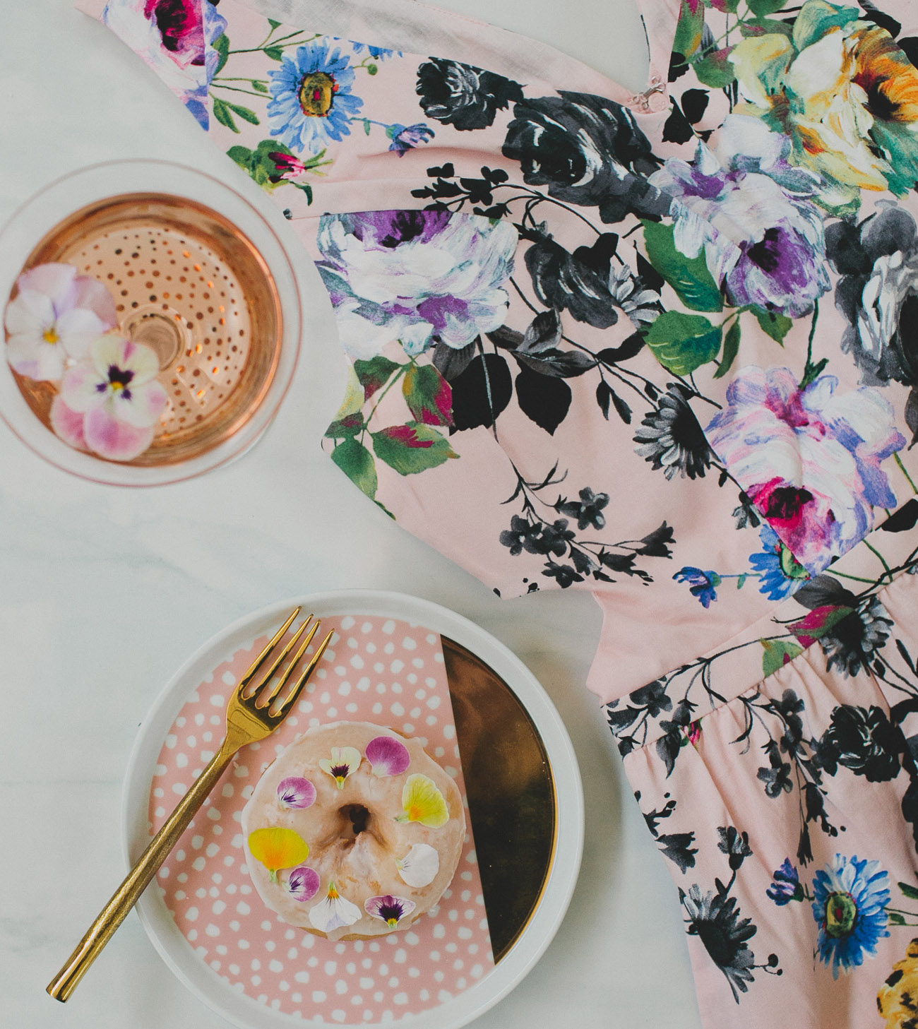 donuts with flowers and floral dress