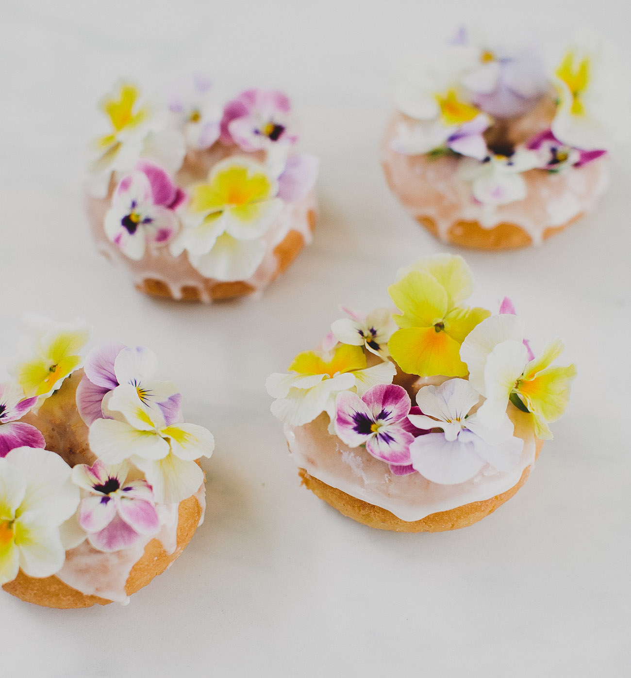 donuts with edible flowers