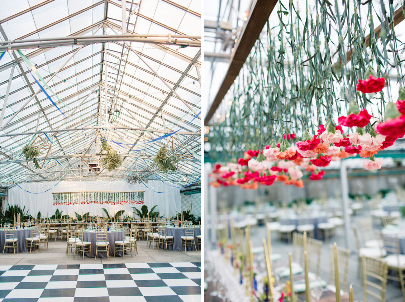 Greenhouse Wedding Hanging Carnations