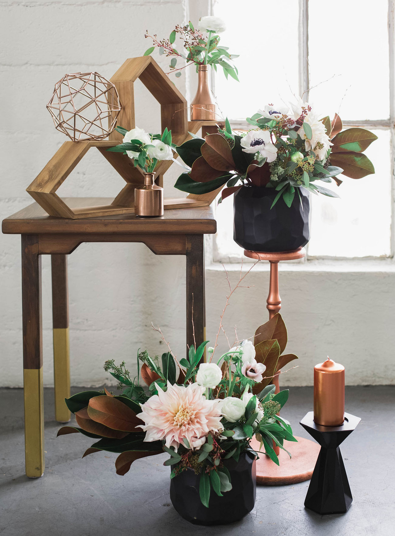 Industrial elegant copper wedding inspiration green for Copper decorations home