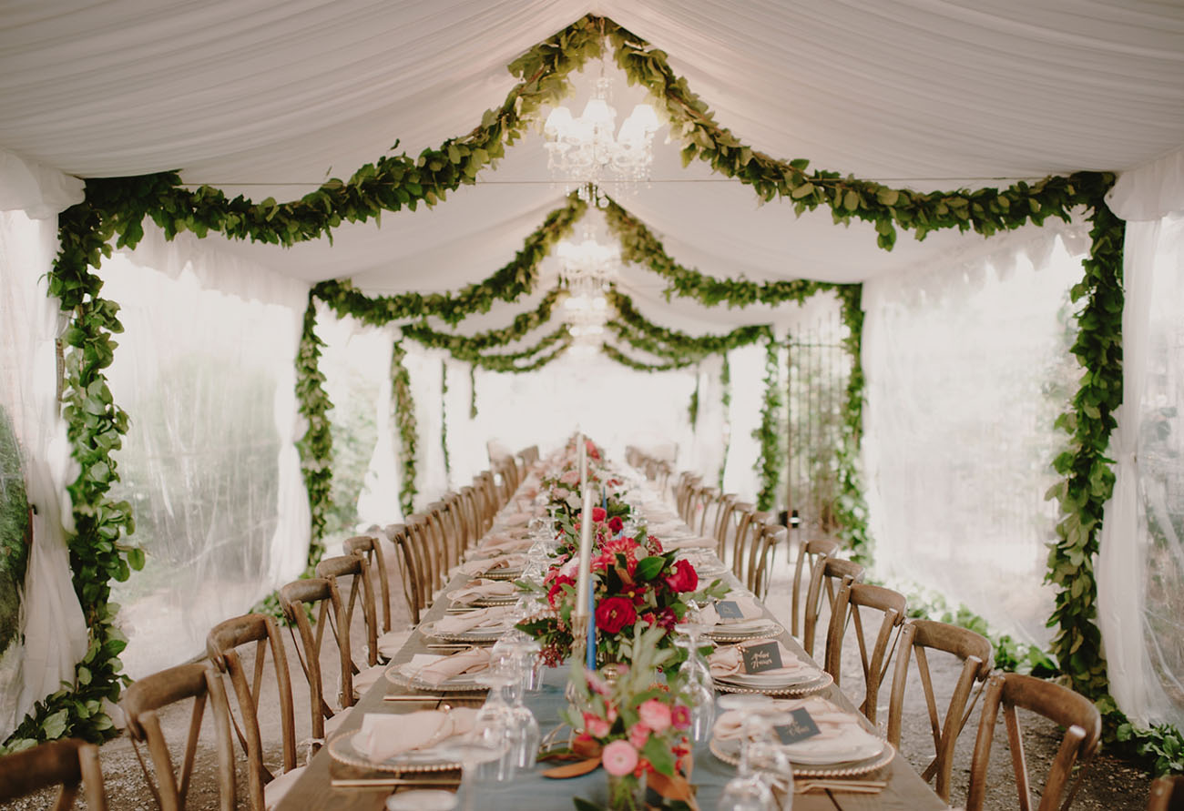 garland ceiling & Tuscan-Inspired Seattle Farm Wedding: Ornella + Lucas - Green ...