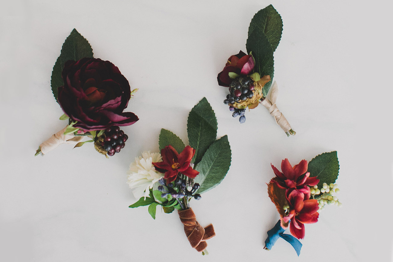 DIY Silk Flower Boutonnieres