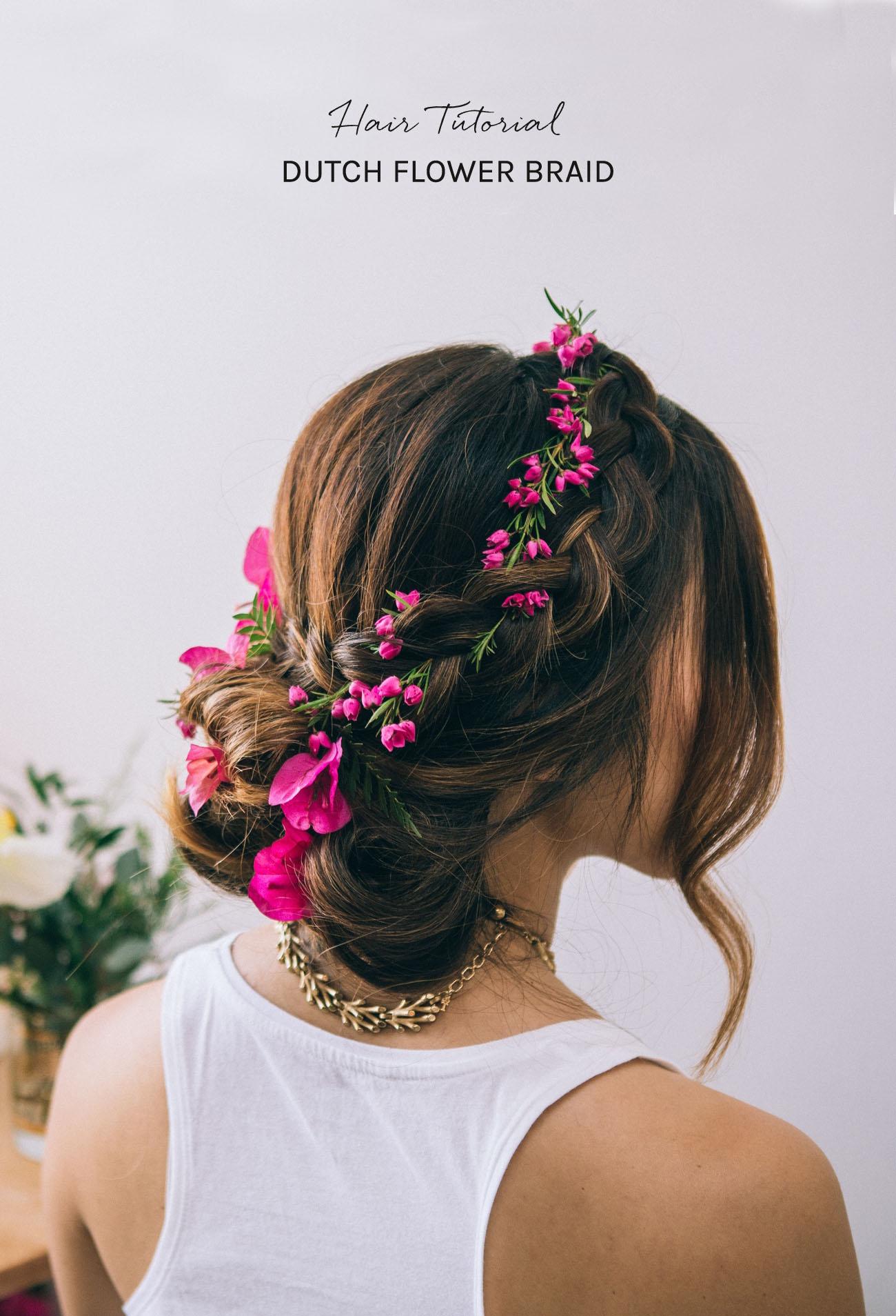 Sensational Hair Tutorial Dutch Flower Braid Green Wedding Shoes Weddings Short Hairstyles Gunalazisus