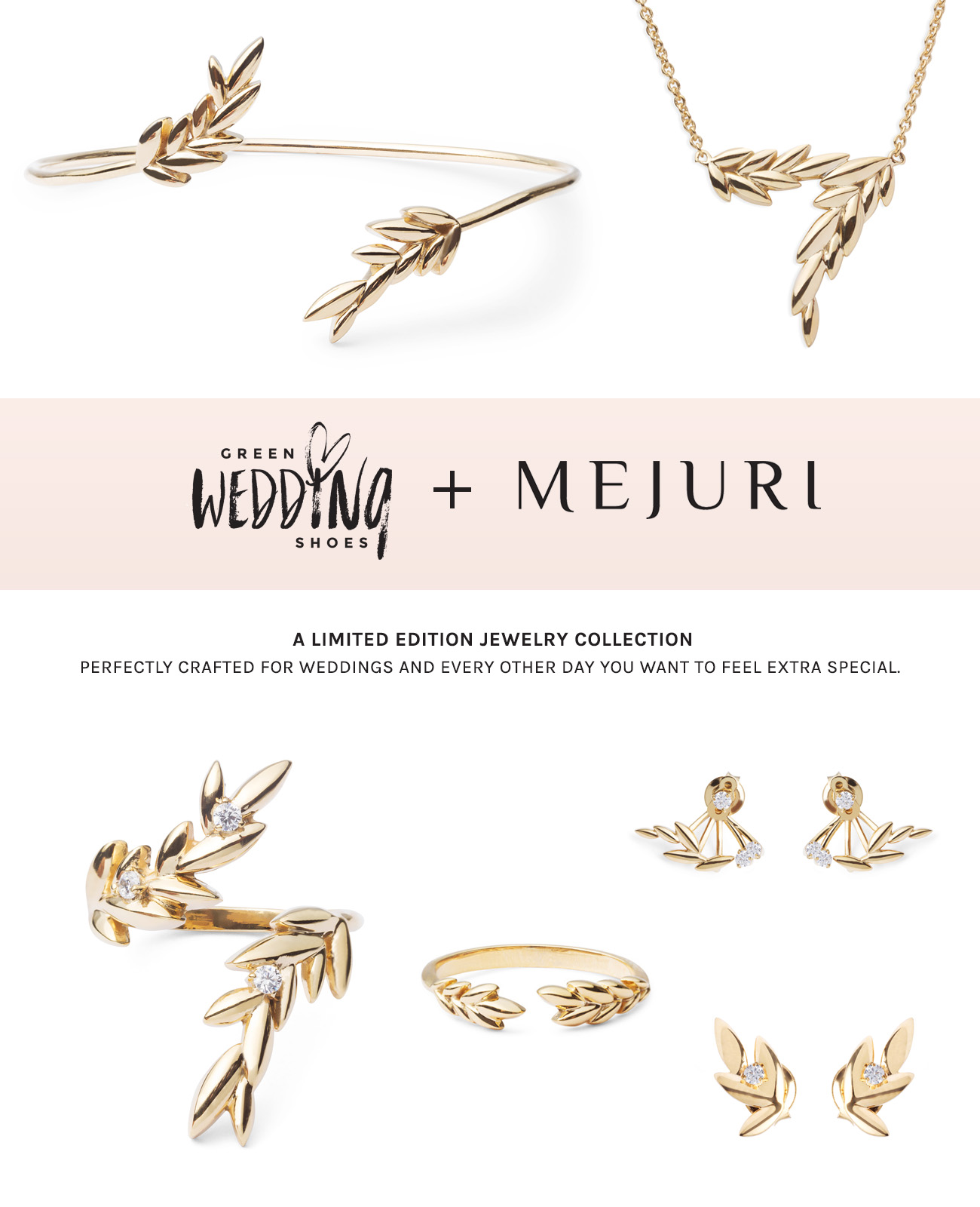 Green Wedding Shoes Jewelry collection with Mejuri
