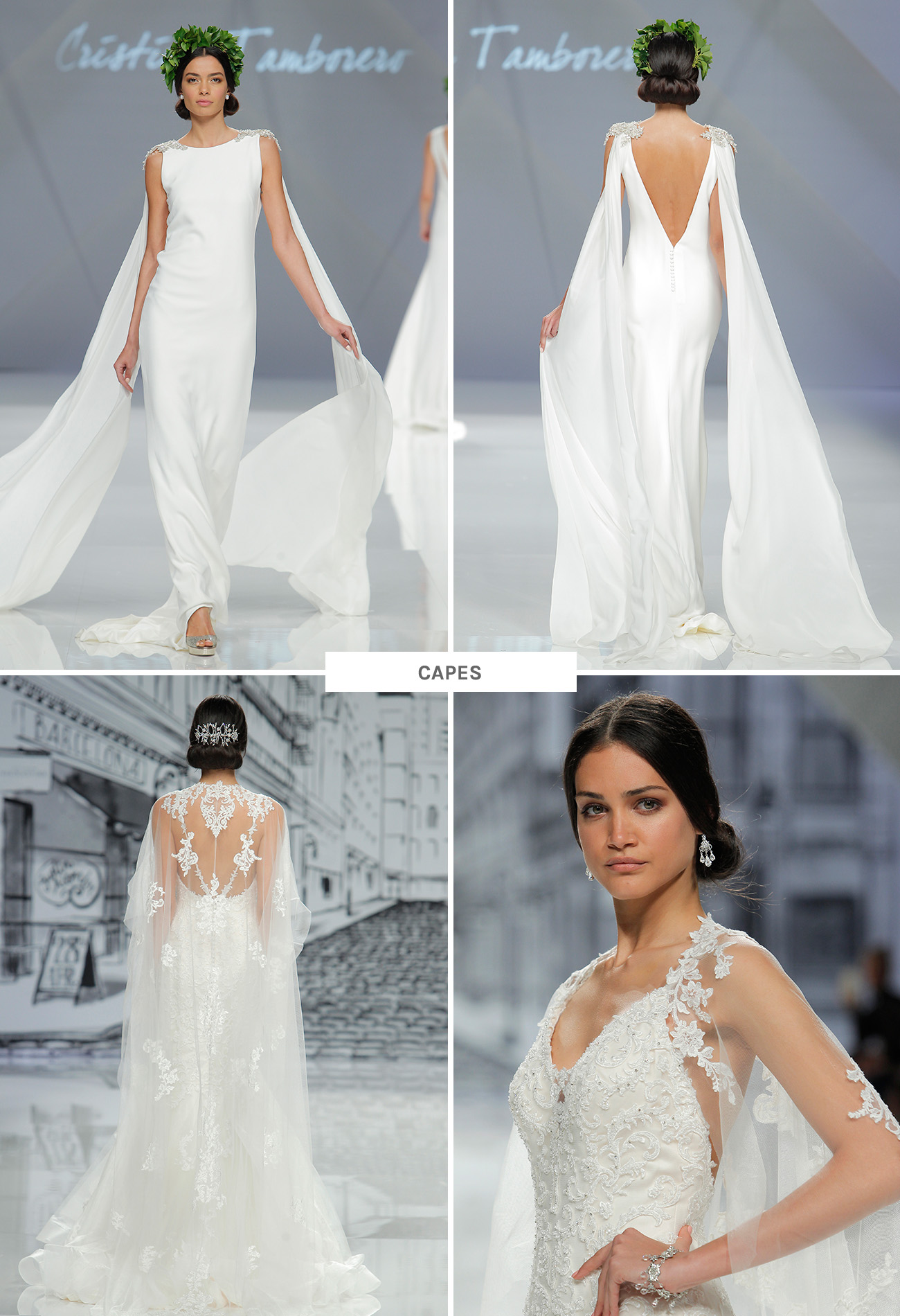 wedding dress trends from barcelona bridal fashion week wedding dress with cape Wedding Dresses with capes from Barcelona Bridal Week