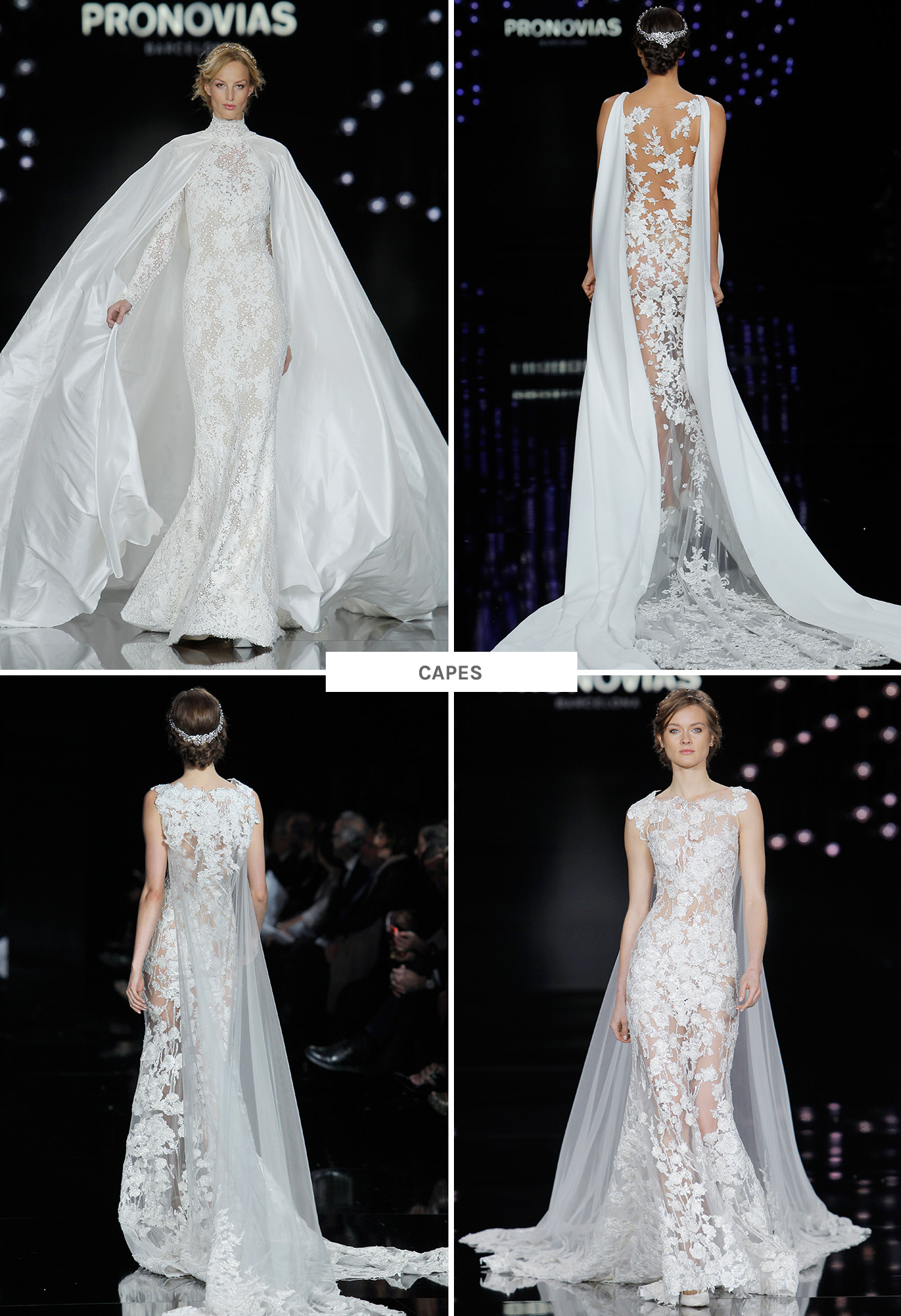 Pronovias Wedding Dresses with capes from Barcelona Bridal Week