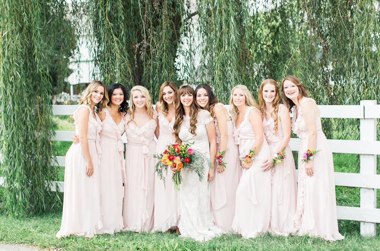 pink ruffle bridesmaids