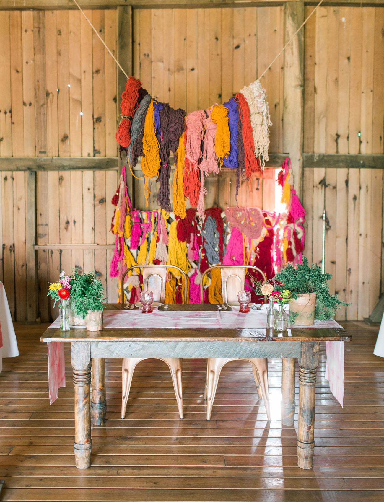 colorful yarn backdrop