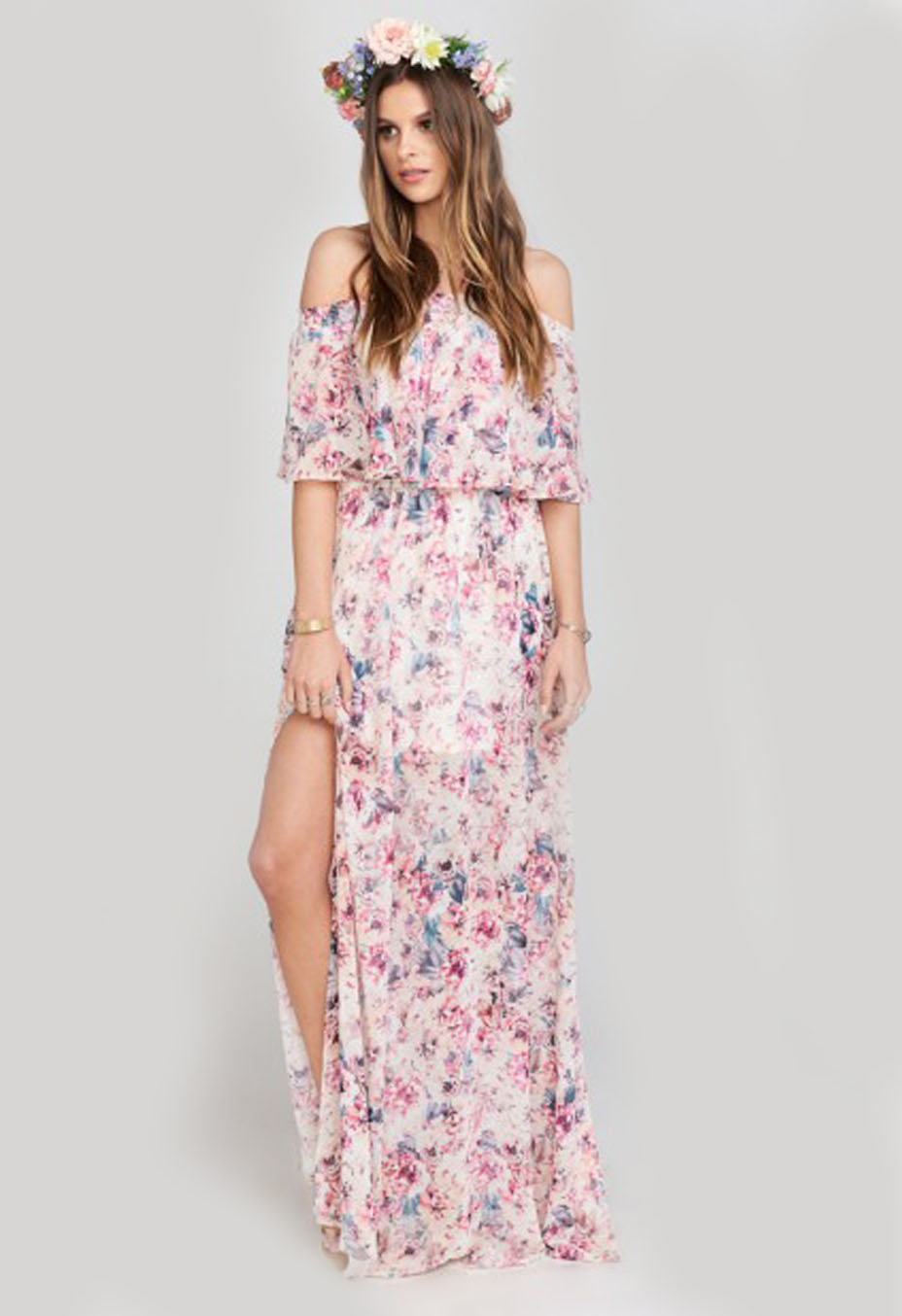 Hacienda Maxi Dress In Green Wedding Shoes Floral Green