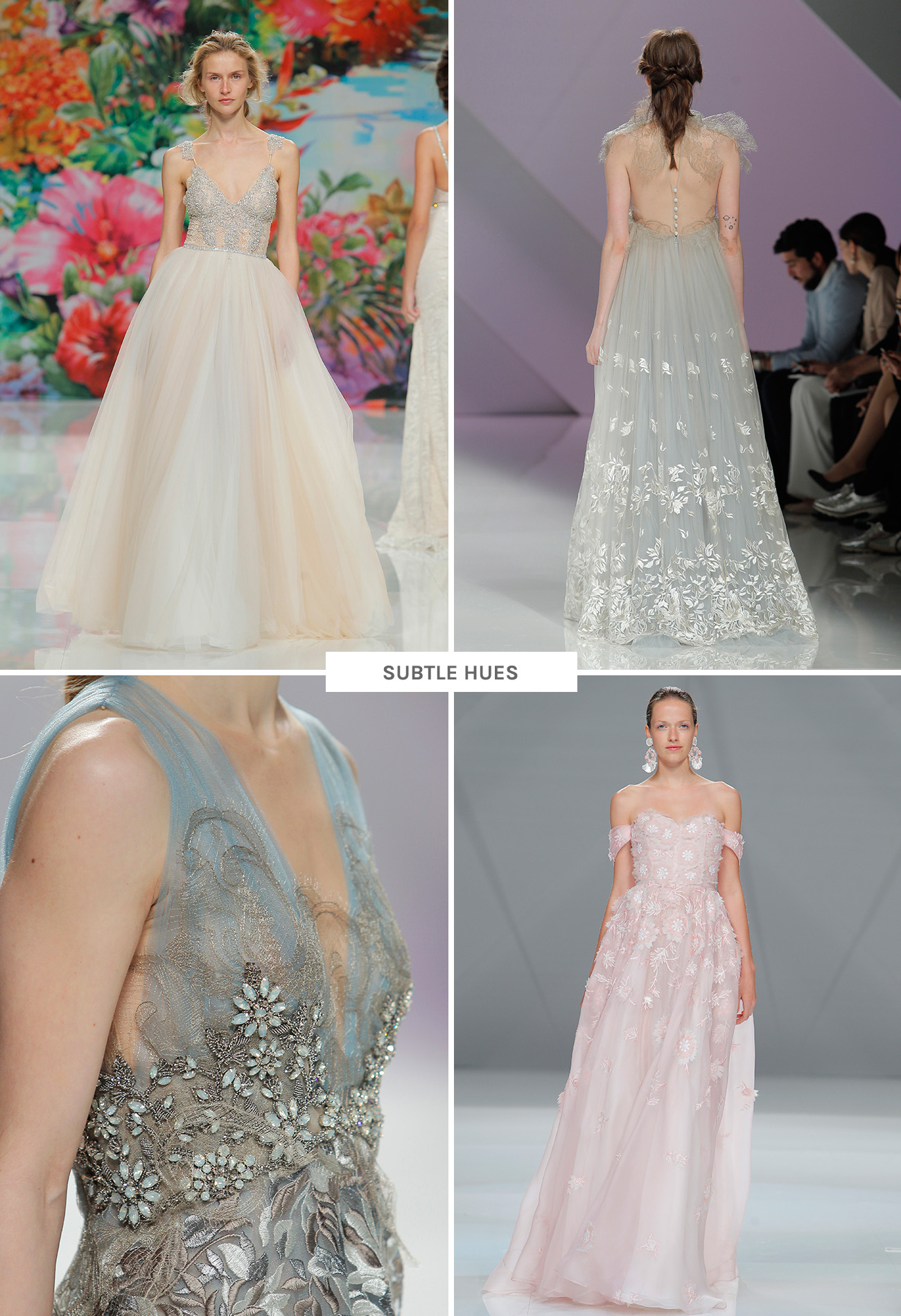wedding dresses with subtle hues from Barcelona Bridal Week