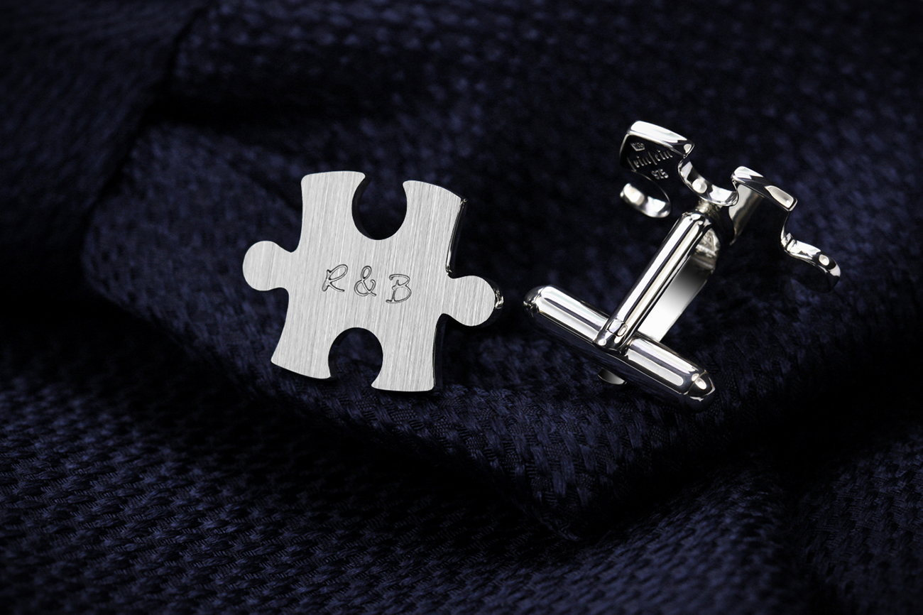 Engraved cufflinks, puzzle cufflinks sterling silver