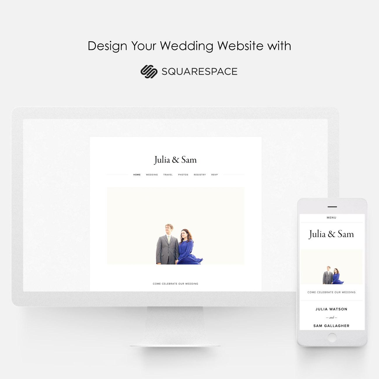design a custom wedding website with squarespace green