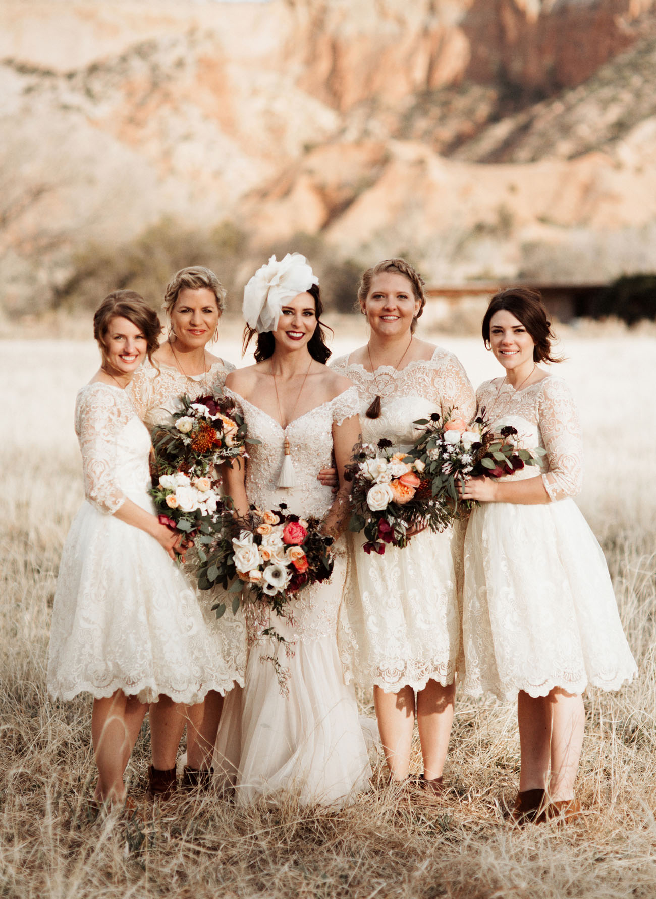 white lace bridesmaids