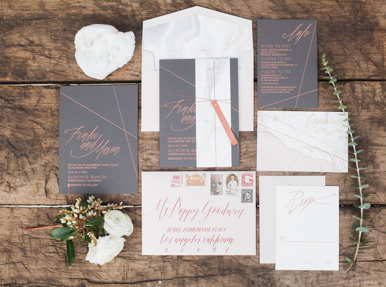 modern copper invitation