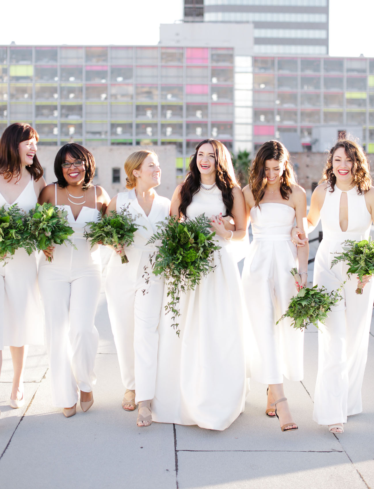 white jumpsuit bridesmaids