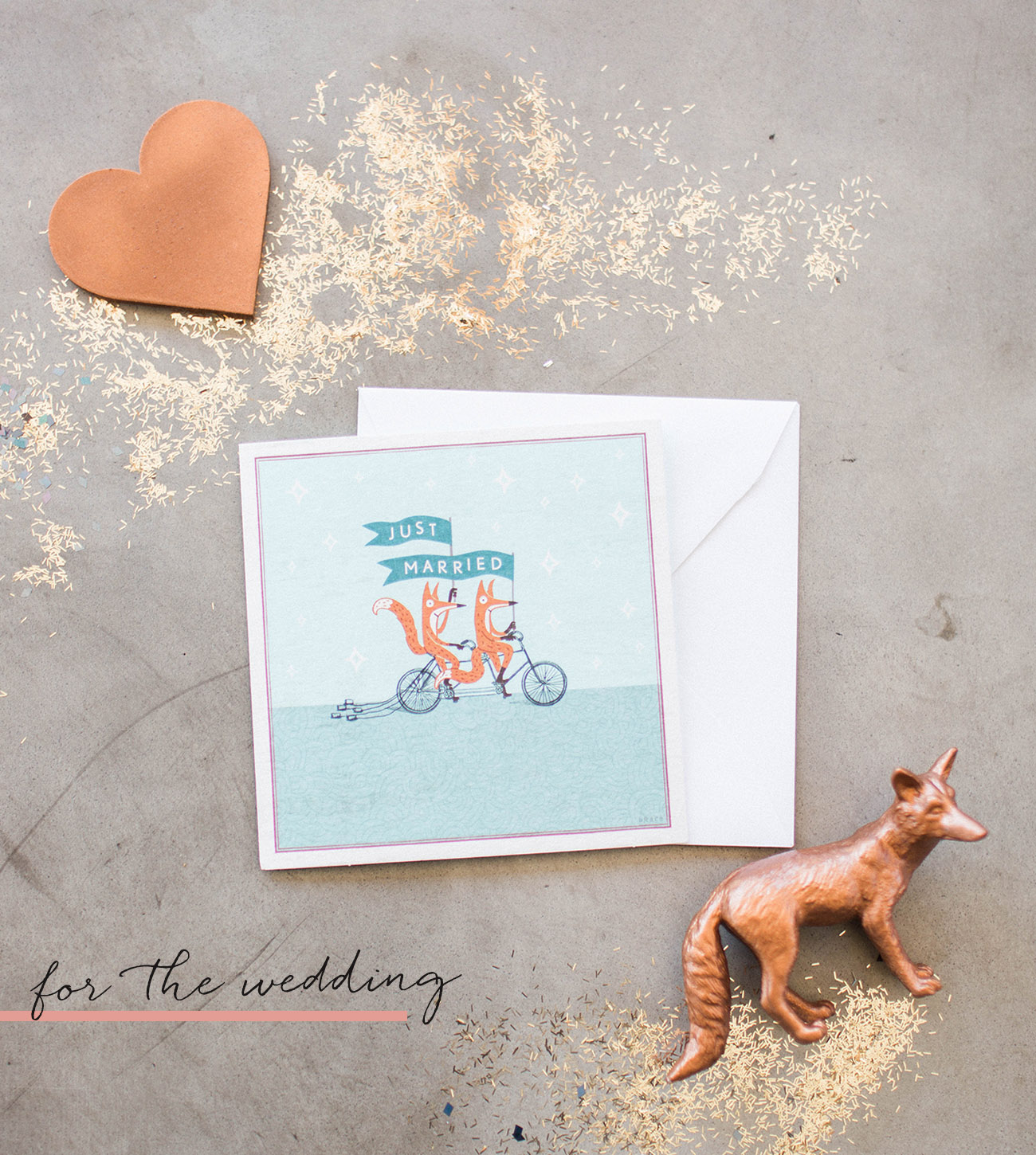 Just Married Wedding Card with Foxes