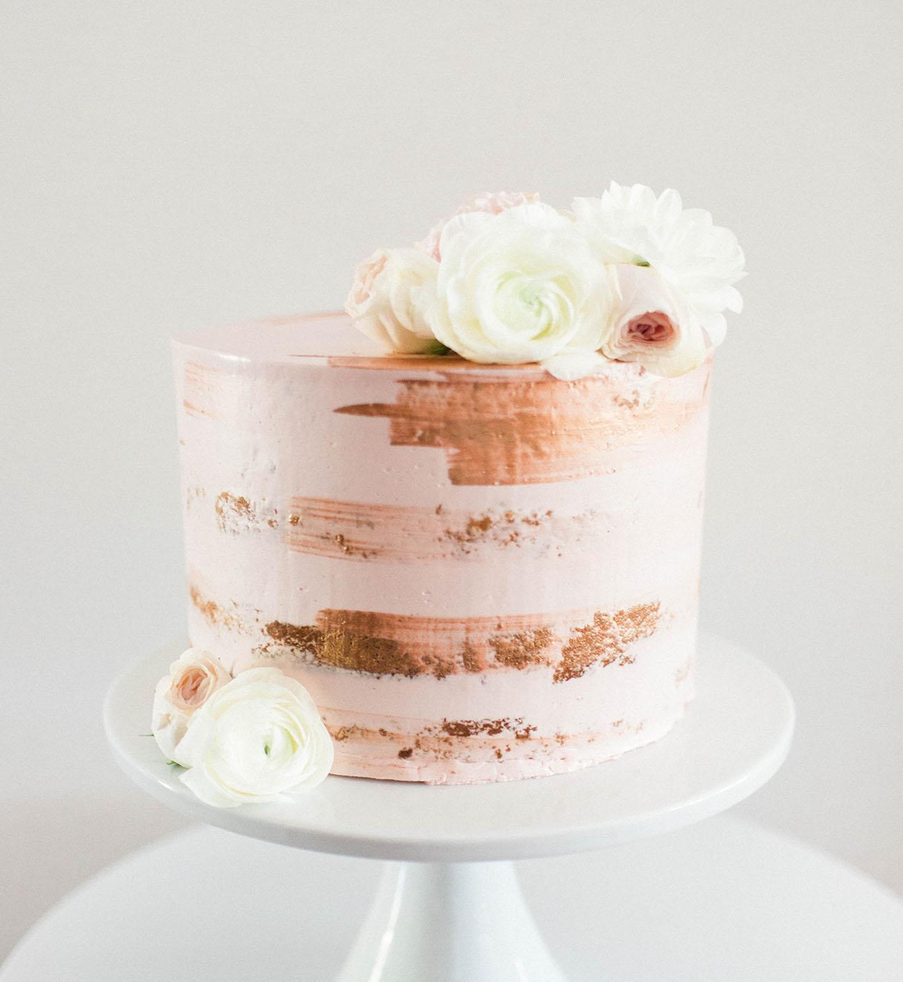 gold brush cake