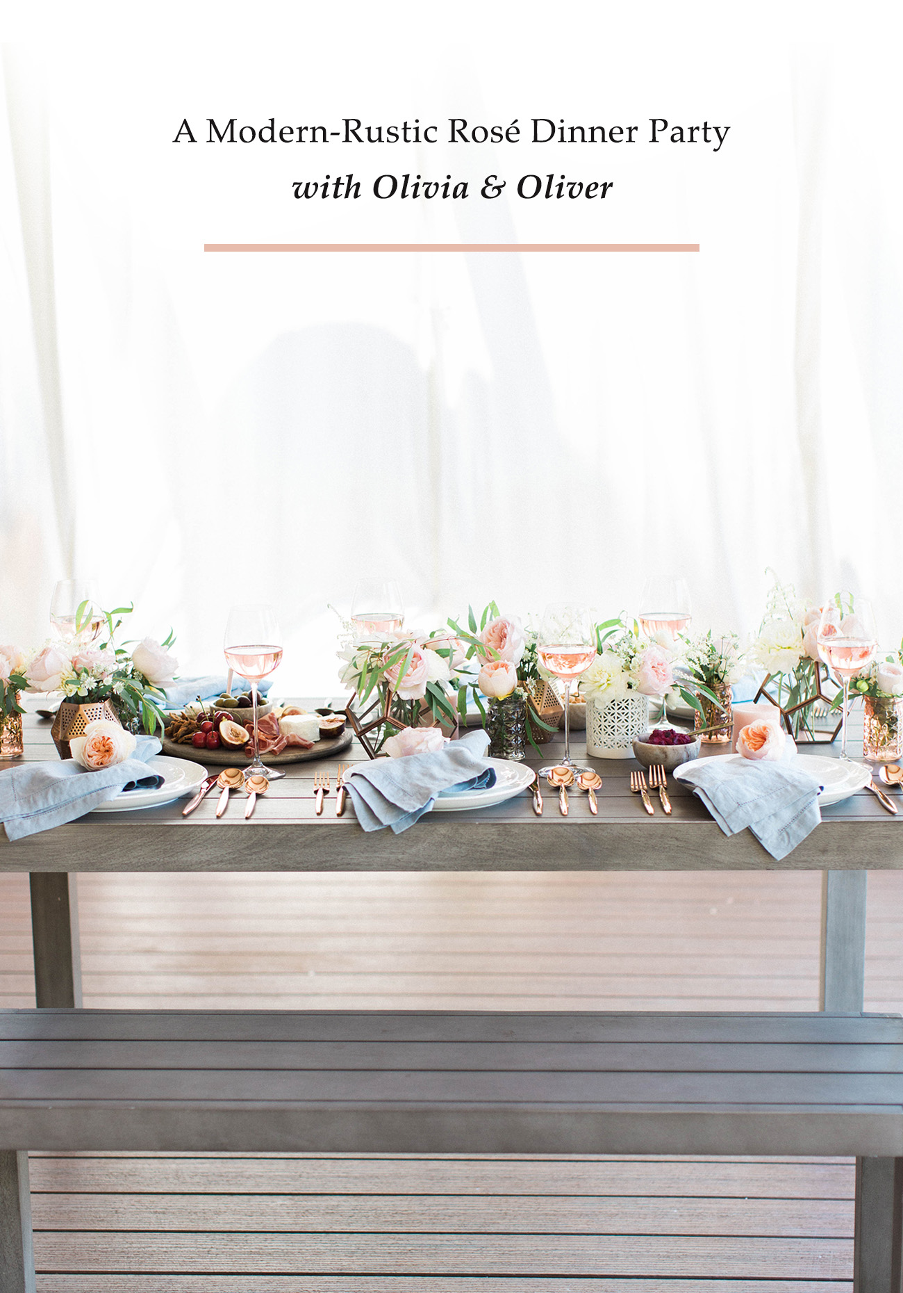 Modern Rustic Rose Dinner Party