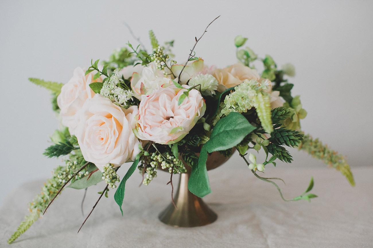Diy silk flower centerpiece green wedding shoes