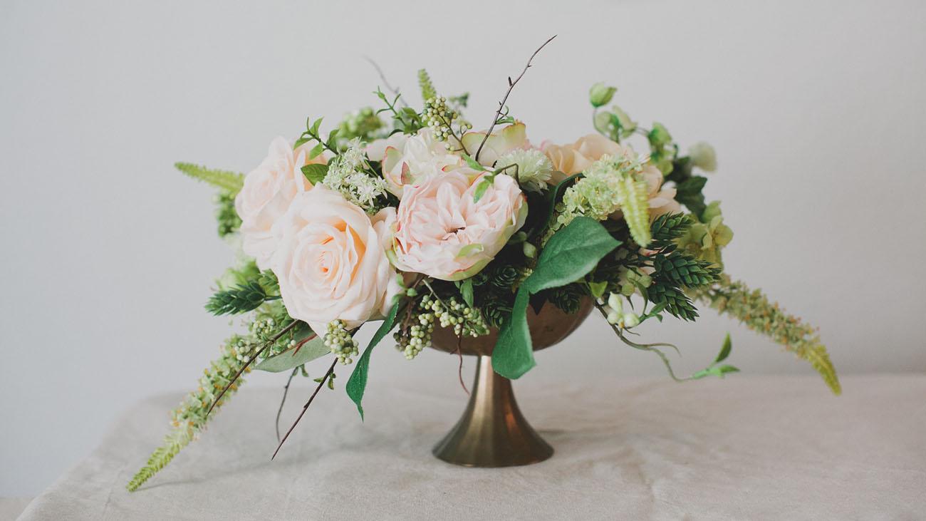 Diy silk flower centerpiece green wedding shoes diy centerpiece with afloral mightylinksfo