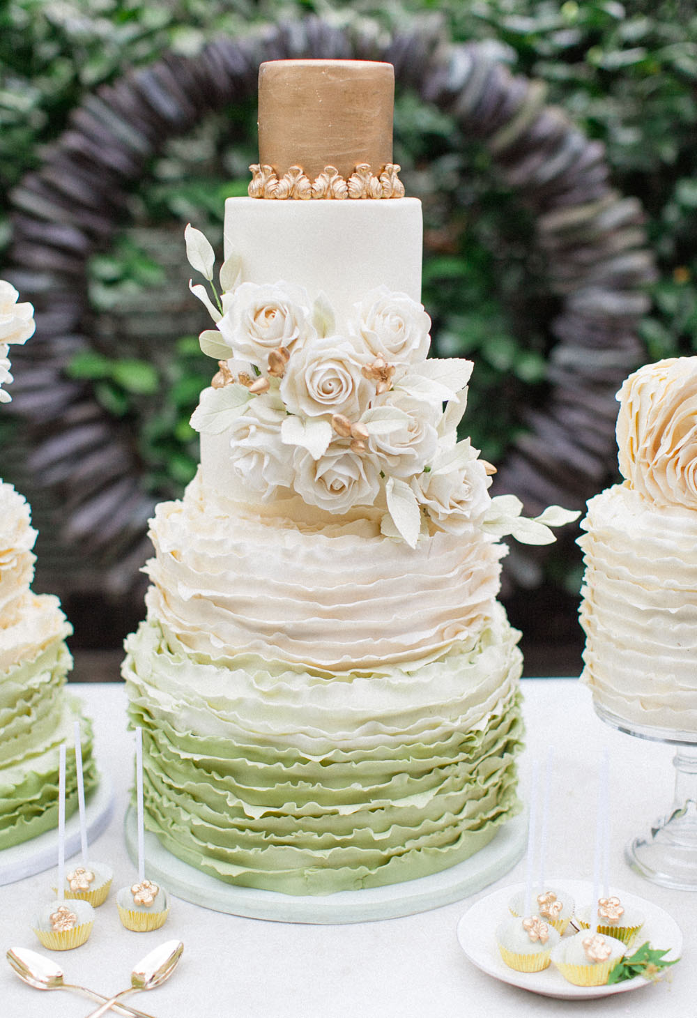 green ruffle rose cake