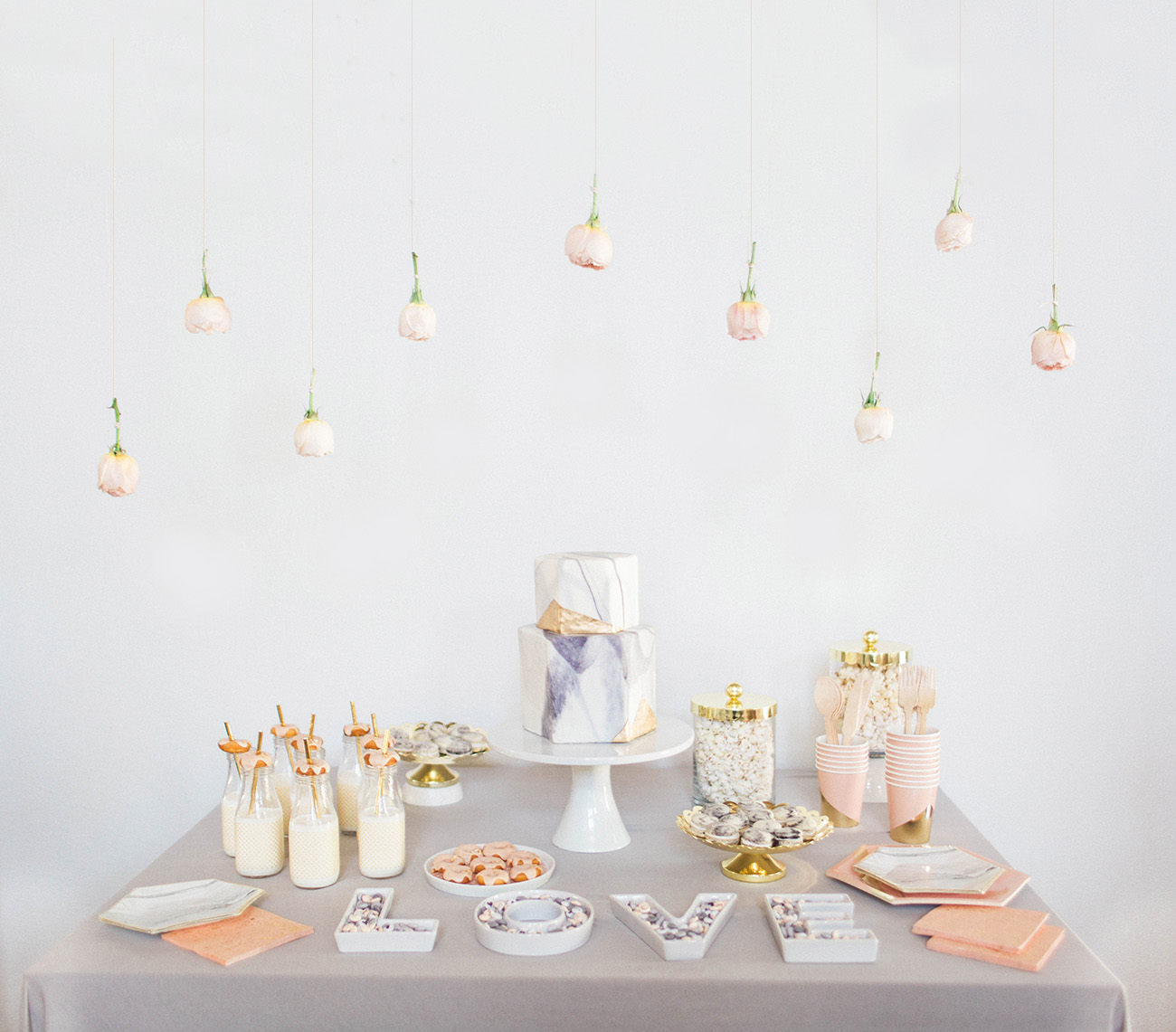 A Marble-Inspired Dessert Table with M&M\'S - Green Wedding Shoes