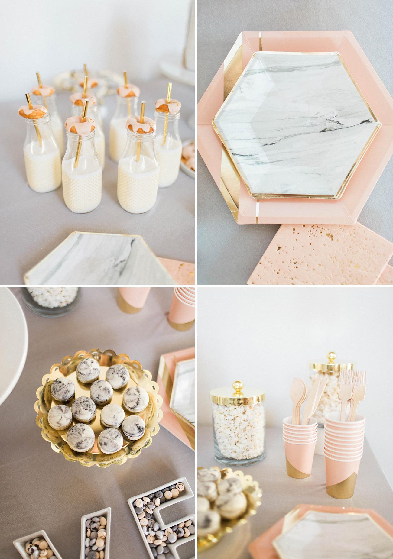 marble inspired dessert table